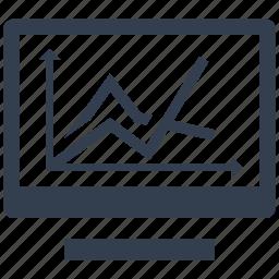 chart, computer, dashboard, diagram, graphic, growing, monitor, optimization, pc, screen icon