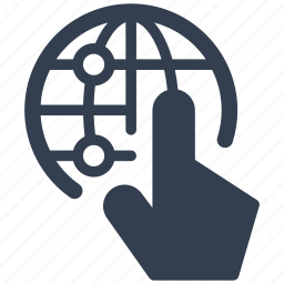 finger, globe, hand, internet, optimization, seo, touch, web icon