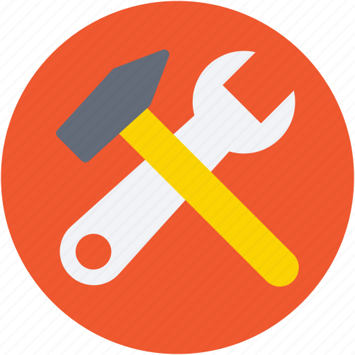 hammer, repair tools, setting tools, spanner, wrench icon