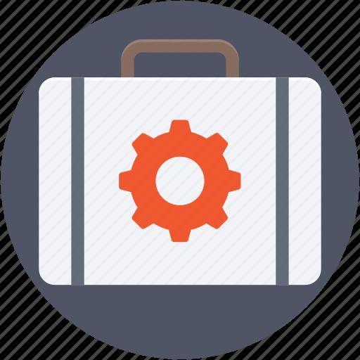 briefcase, cog, cogwheel, portfolio, suitcase icon