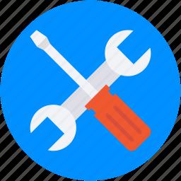 garage tools, repair tools, screwdriver, settings, spanner icon