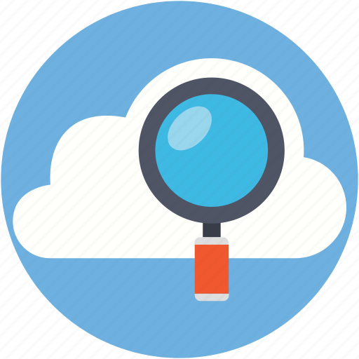 cloud, magnifying, search backup, search cloud, search data icon