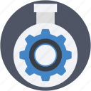 cog, cogwheel, flask, gearwheel, mechanism icon