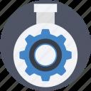 cog, cogwheel, flask, gearwheel, mechanism