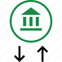 arrow, bank, banking, good, online, transactions, up icon