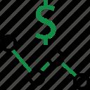 analytics, analyze, currency, dollar, money, share, sign icon