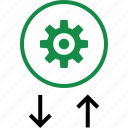 arrow, down, gear, options, setup, transactions, up icon