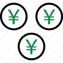 business, coins, currency, money, rich, wealth, yen icon