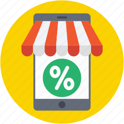 discount, mobile shopping, online shopping, percentage, shopping application icon
