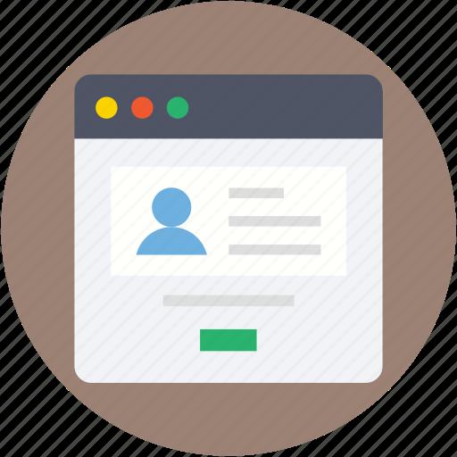 profile, profile popup, user, user details, web profile icon