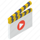 action, clapperboard, filmmaking video production, movie clapper icon