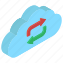 cloud computing, cloud refresh, cloud synchronization, cloud syncing, cloud update icon