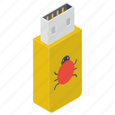 defected usb, disk device, flash, flash drive, universal serial bus, usb, usb virus icon