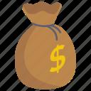 currency bag, dollar bag, financial bag, money bag, money sack, wealth icon