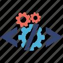code, optimization, seo services, social media, web designer icon