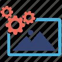 image, optimization, seo services, social media, web designer icon