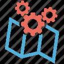 map, optimization, seo services, social media, web designer icon