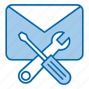 email, message, repair, support, tools icon
