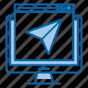 landing, page, screen, send, seo, web icon