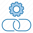 building, chain, gear, link icon