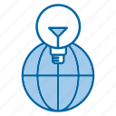 bulb, global, idea, solution icon