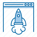 fast, landing, page, rocket, speed icon