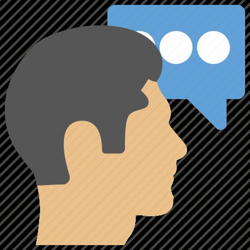 discussion, male consultant, speech, talk, talking man icon