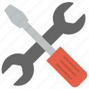 development tools, screwdriver and spanner, software development service, web tools, website development tools icon