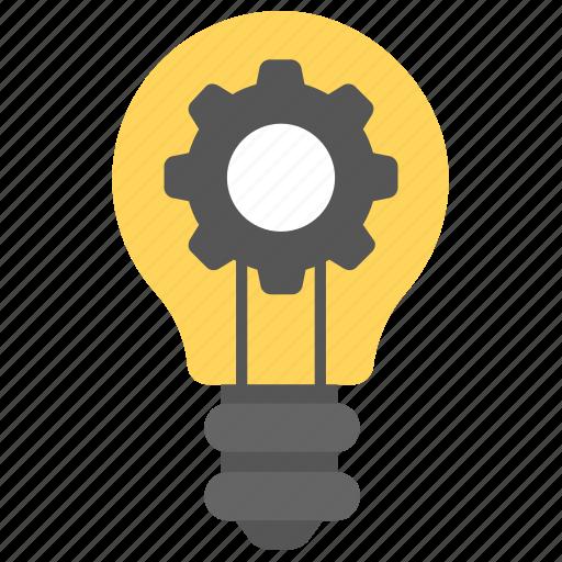 bright bulb, gear inside bulb, light bulb, marketing, marketing idea icon