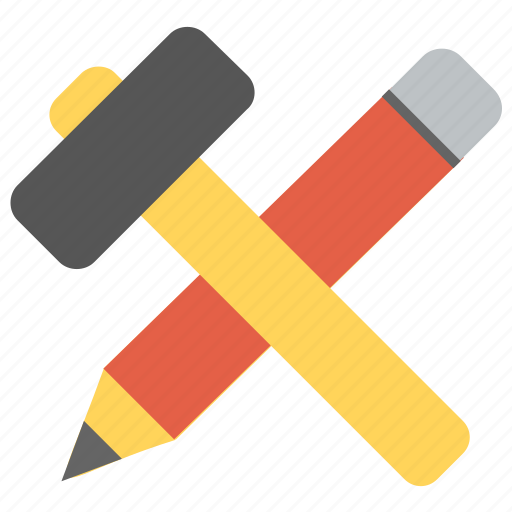 architect instruments, creativity concept, design tools, hammer with pencil, hand tools icon