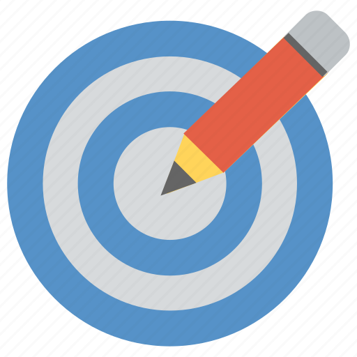 design, plan, project, target with pencil, task icon
