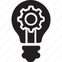 bright bulb, gear inside bulb, light bulb, marketing, marketing idea icon