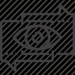 bubble, communication, customer, eye, review, speech, talk icon