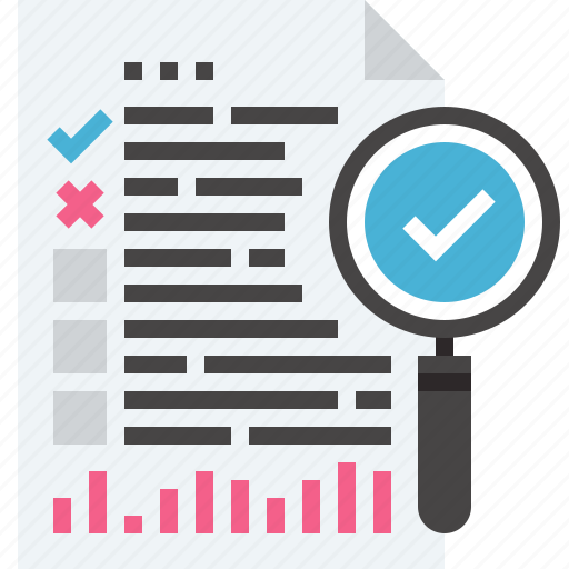 audit, business, data, document, graph, search, seo icon