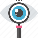explore, eye, glass, magnifier, optimization, search, seo icon