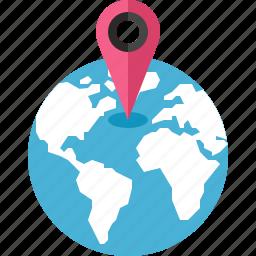 gps, location, map, marker, navigation, pointer, world icon