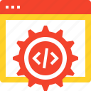 code, coding, cogwheel, optimization, options, settings, web icon