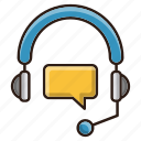 consultation, headphone, online, seo icon