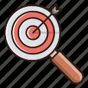 focus, goal, keyword, seo, target icon