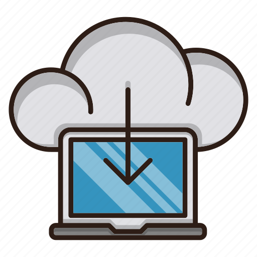 cloud computing, download, information, seo icon