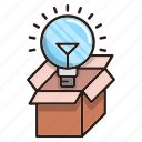 bulb, creative, idea, package, seo icon