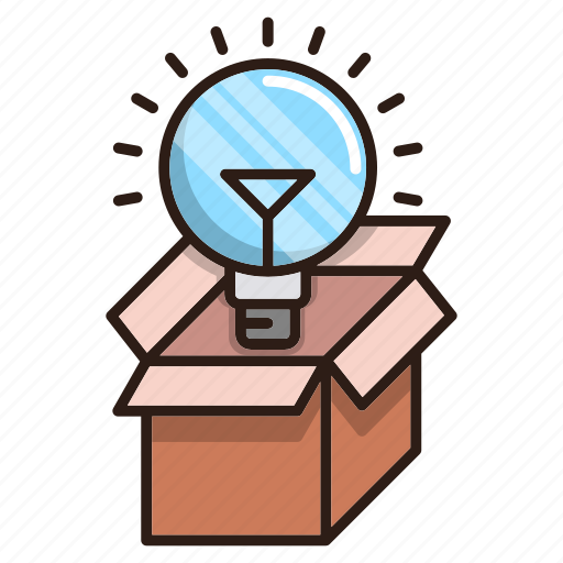 bulb, creative, idea, package, seo icon