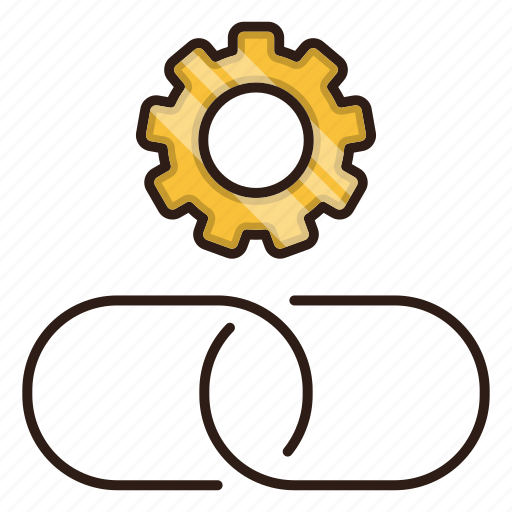 building, chain, configuration, link, seo icon