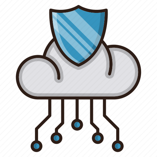 circuit, cloud, network, protection, security, seo icon