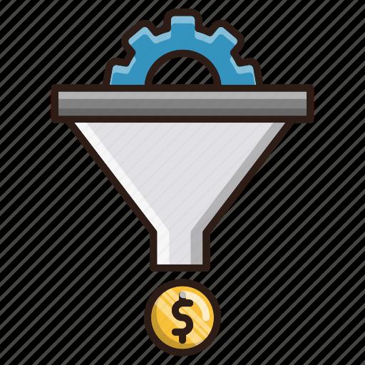 conversion, funnel, money, sales, seo icon