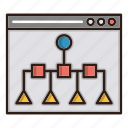 navigation, seo, sitemap, tree, web icon