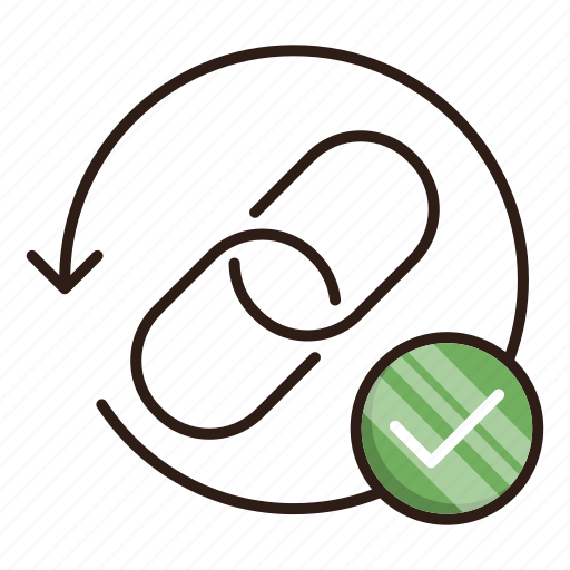 backlinks, checkmark, seo, url icon