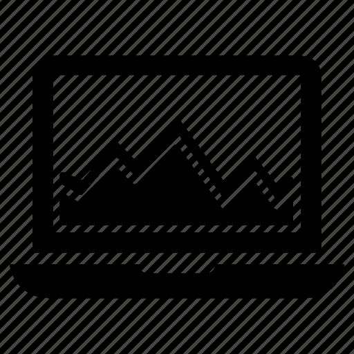 computer, monitoring, report, screen, statistics icon