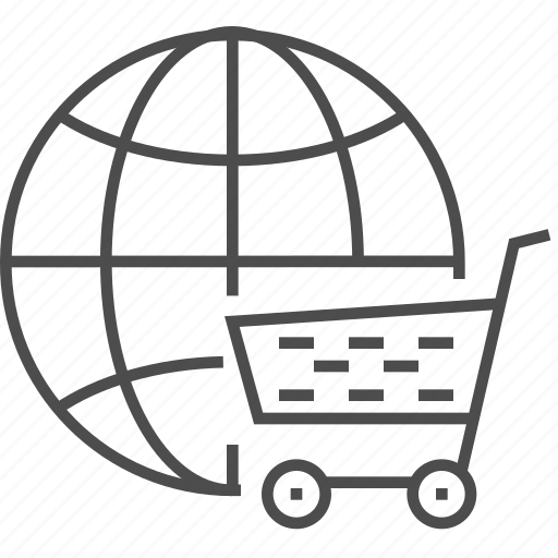 cart, ecommerce, globe, internet, online, shopping, world icon