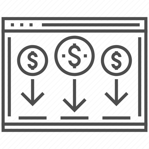 coins, dollar, landing, money, page, payment, web icon